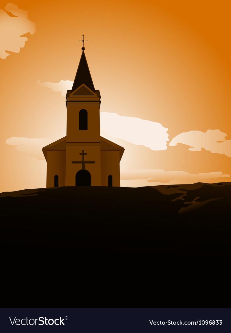 Sunset chapel vector | Price: 1 Credit (USD $1)