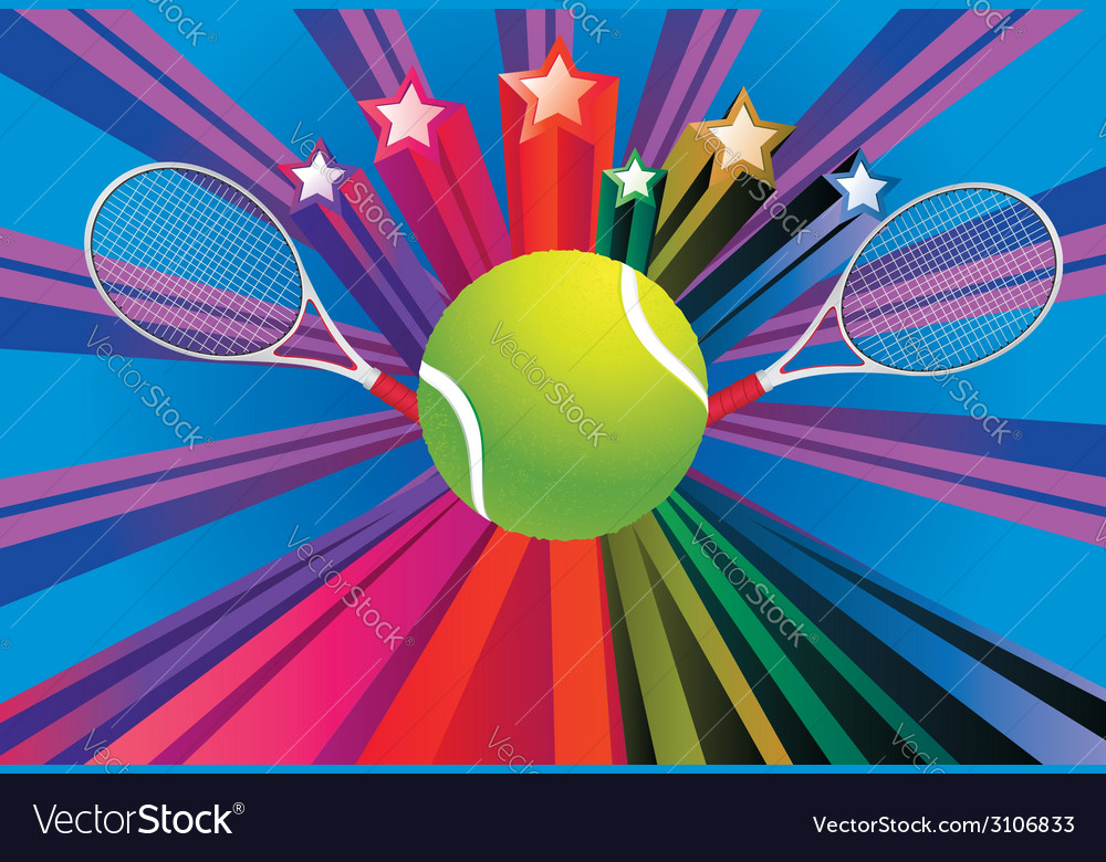 Tennis ball and racket4 vector | Price: 1 Credit (USD $1)