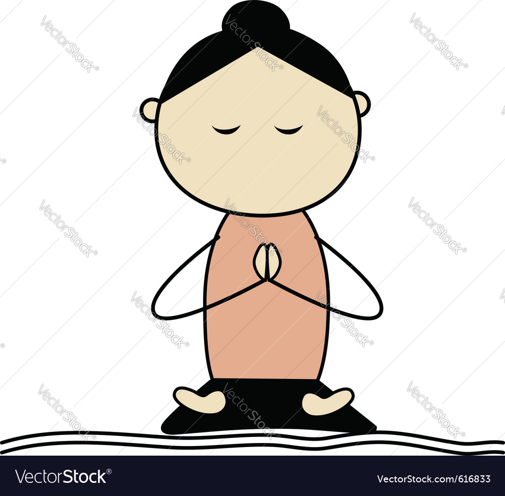 Woman practicing yoga lotus pose vector | Price: 1 Credit (USD $1)