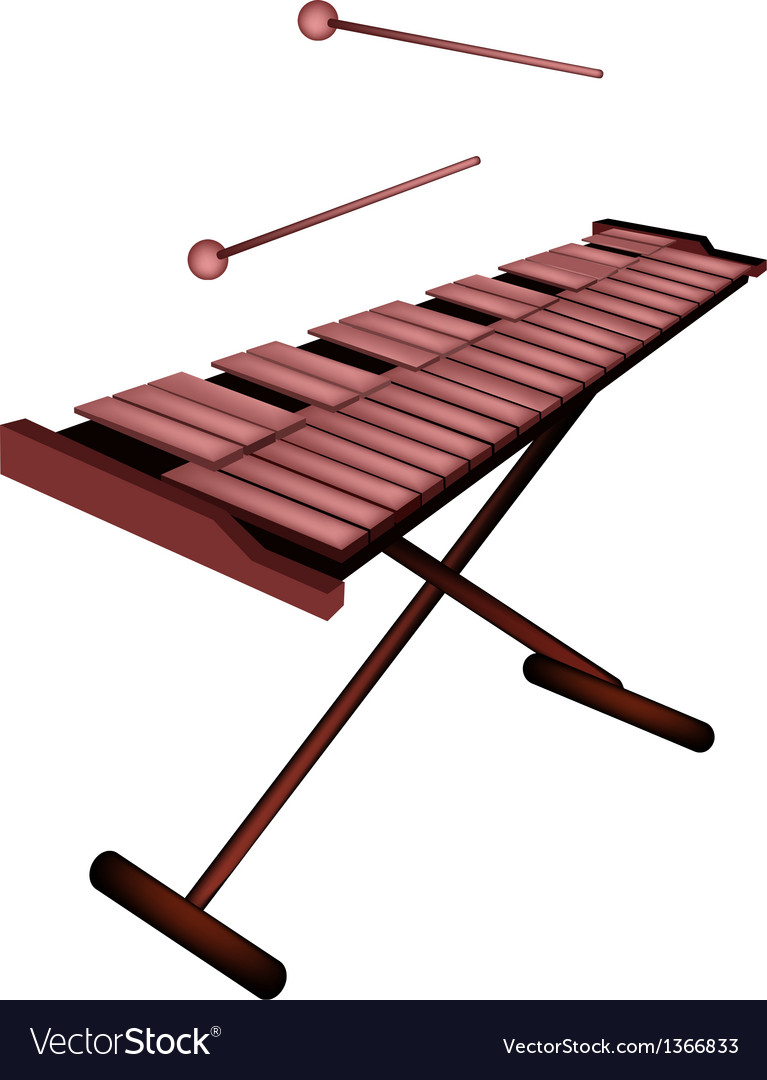 Xylophone or marimba isolated on white background vector | Price: 1 Credit (USD $1)