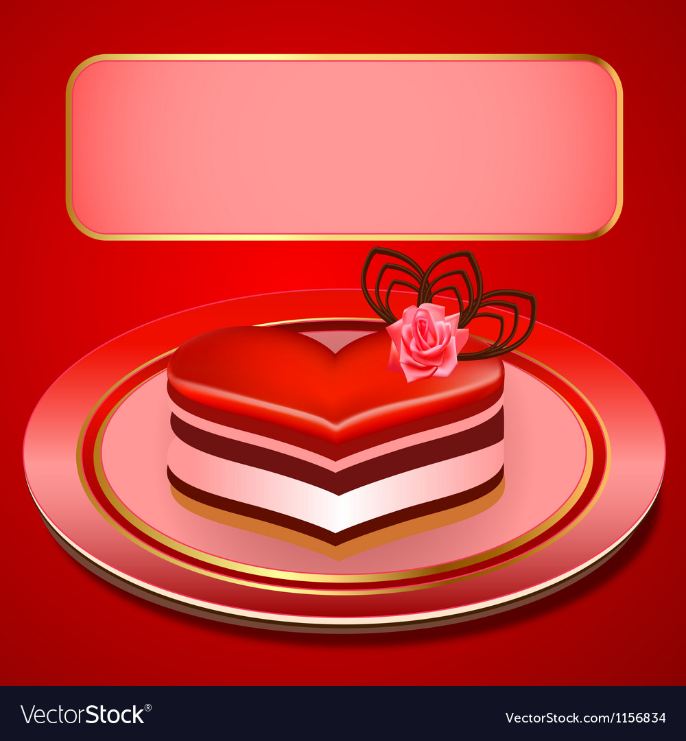 Background with a cake in the shape of heart vector   Price: 1 Credit (USD $1)