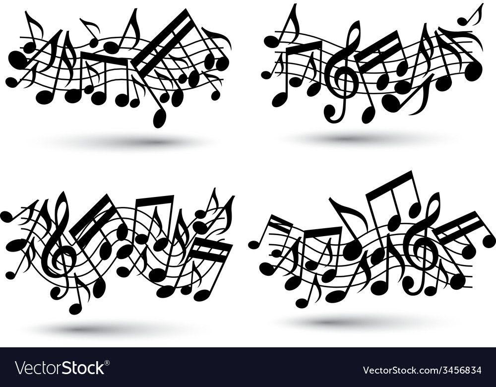 Black jolly wavy staves with musical notes on vector | Price: 1 Credit (USD $1)