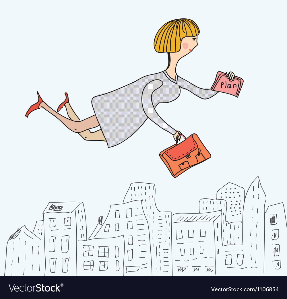 Business woman flying to work cartoon vector | Price: 1 Credit (USD $1)