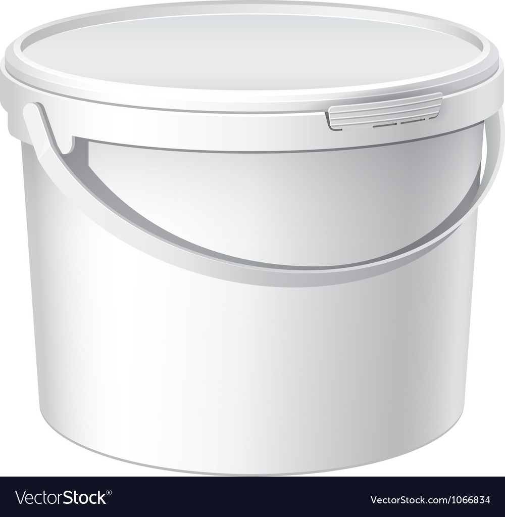 Cool realistic white plastic bucket vector | Price: 1 Credit (USD $1)