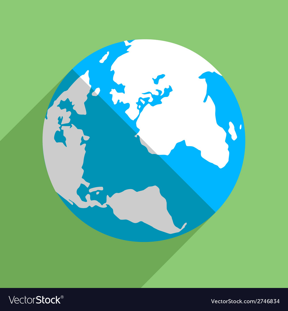 Earth globe flat icon vector | Price: 1 Credit (USD $1)
