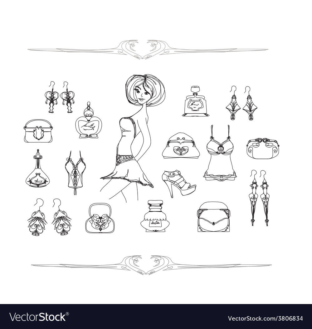 Fashion shopping icon doodle set vector | Price: 1 Credit (USD $1)