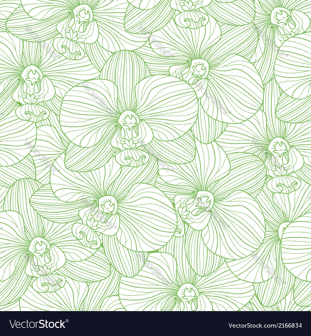 Green lines orchid seamless pattern vector | Price: 1 Credit (USD $1)