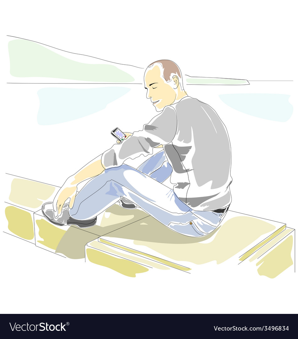 Man with mobile phone sitting on the parapet vector | Price: 1 Credit (USD $1)