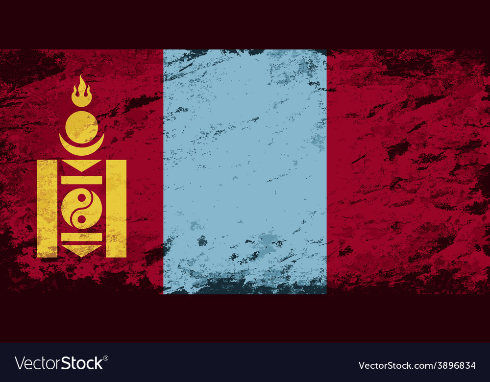 Mongolian flag grunge background vector | Price: 1 Credit (USD $1)