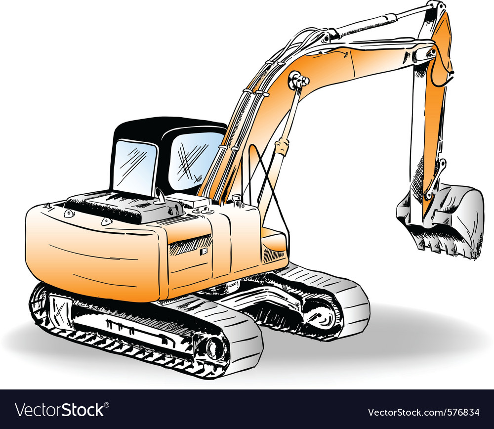 Sketch of excavator on the white vector | Price: 1 Credit (USD $1)