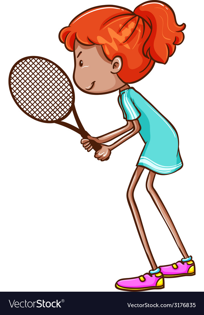A sketch of a female tennis player vector | Price: 1 Credit (USD $1)