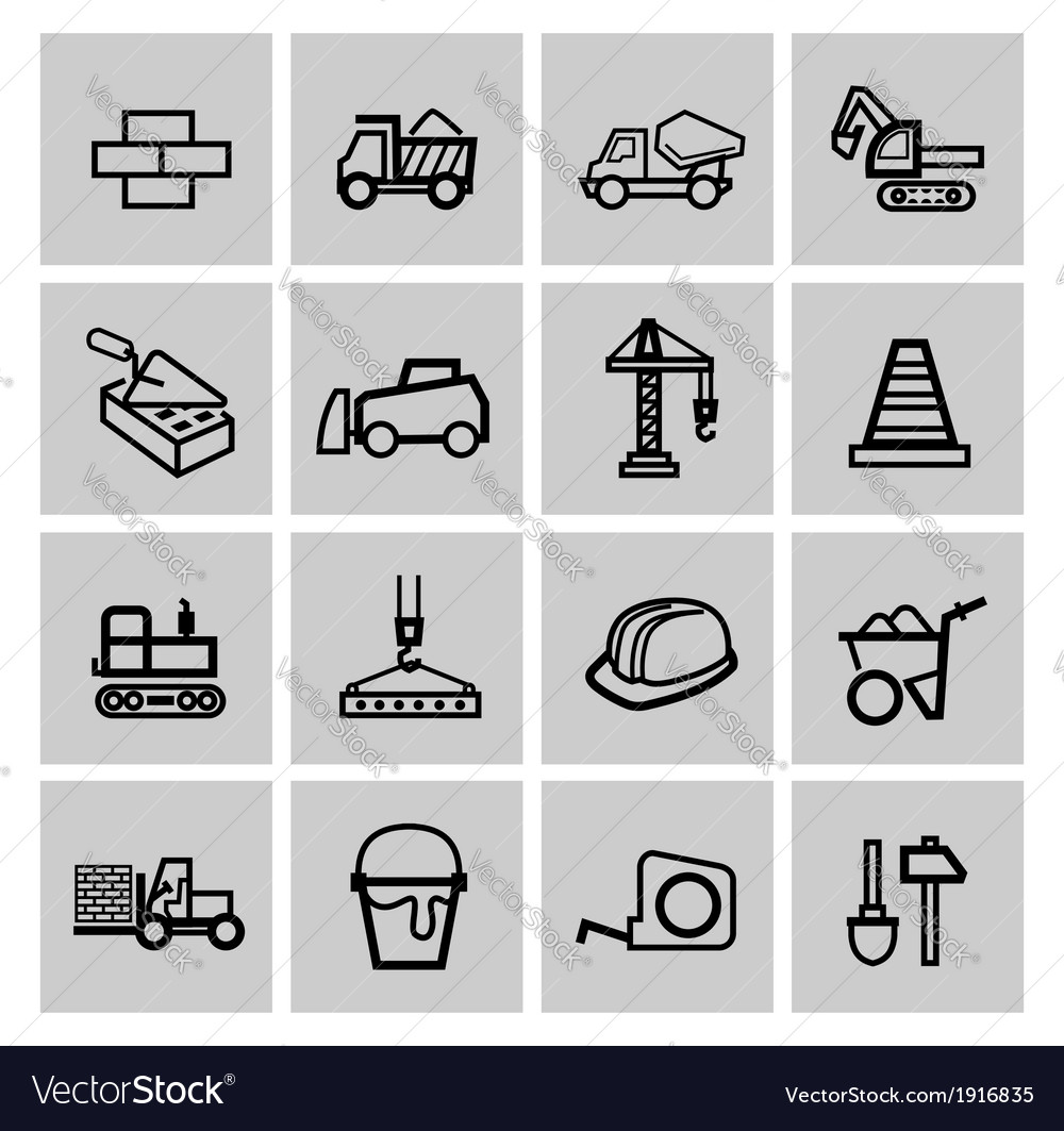 Black construction icons set vector | Price: 1 Credit (USD $1)