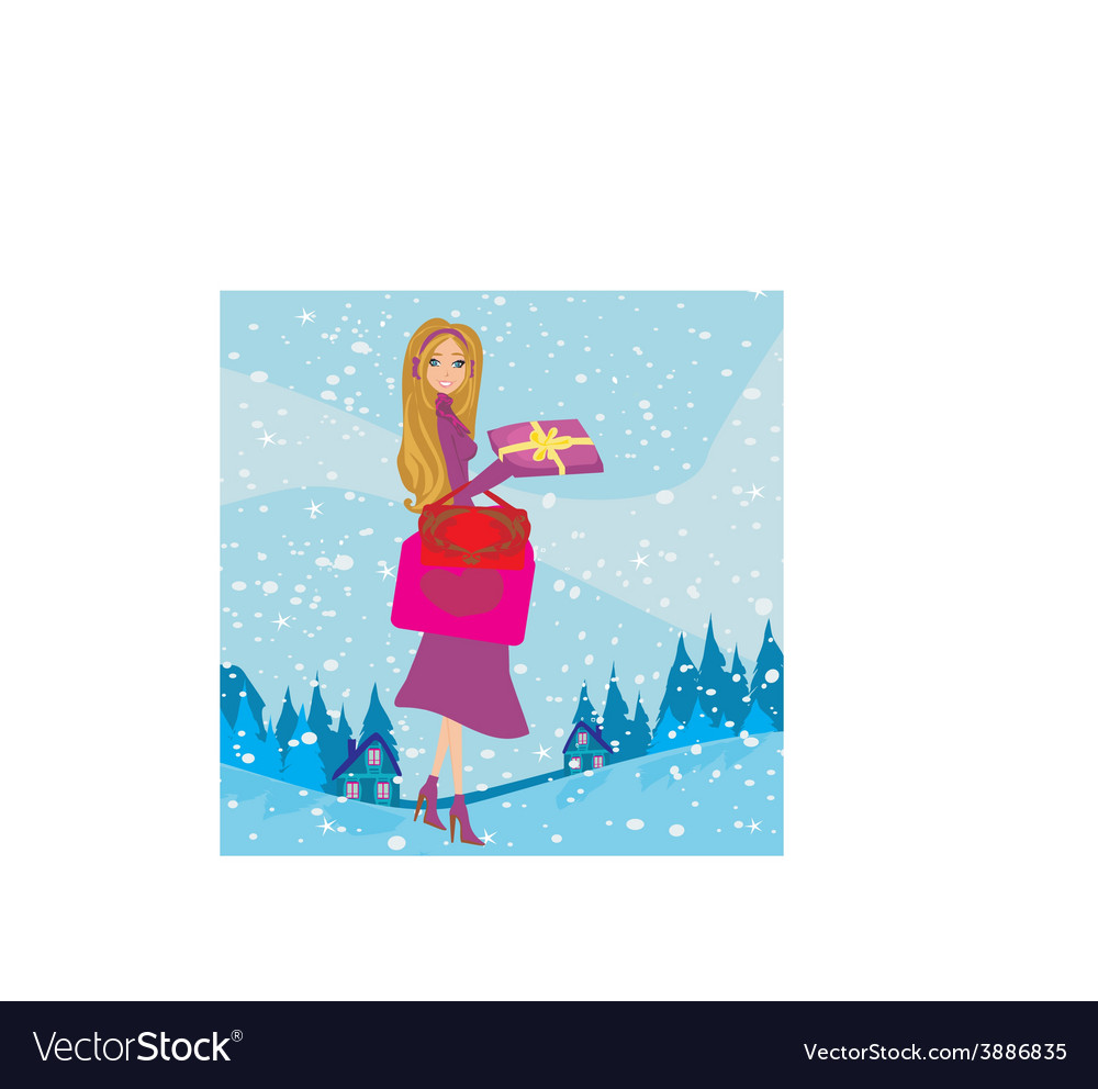 Card with a beautiful woman doing the shopping in vector | Price: 1 Credit (USD $1)