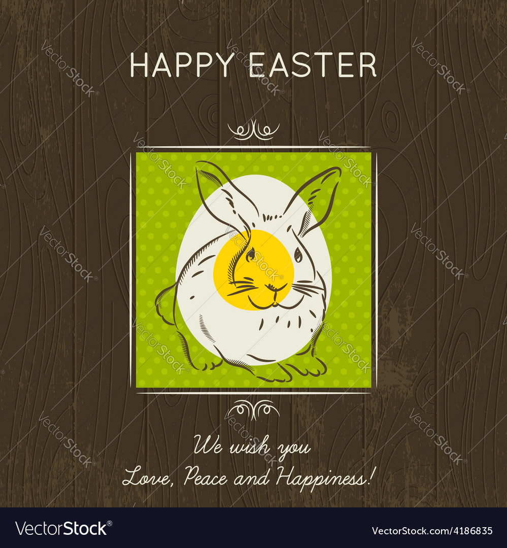 Easter card with eggs and rabbit vector | Price: 1 Credit (USD $1)