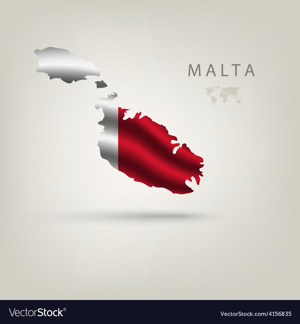 Flag of malta as a country with a shadow vector | Price: 3 Credit (USD $3)