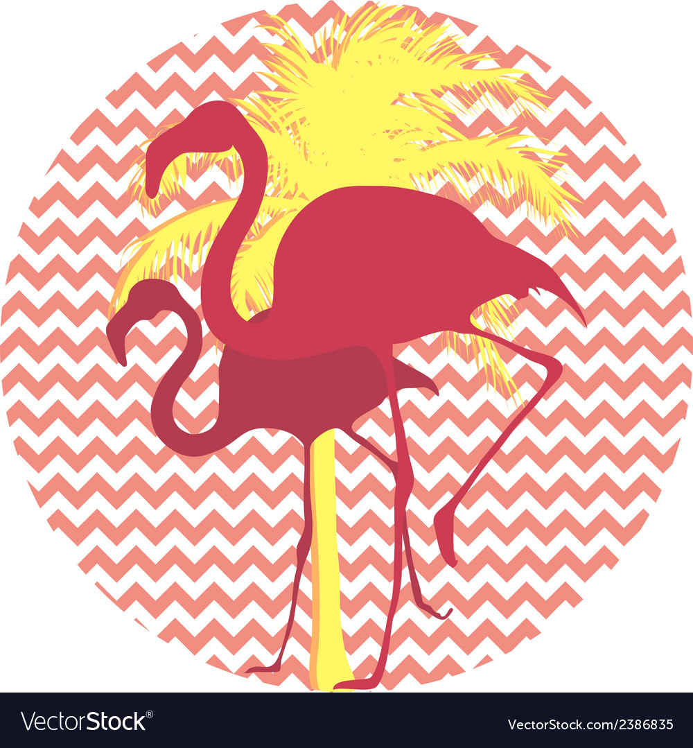 Flamingos and palm tree on a pink background vector | Price: 1 Credit (USD $1)