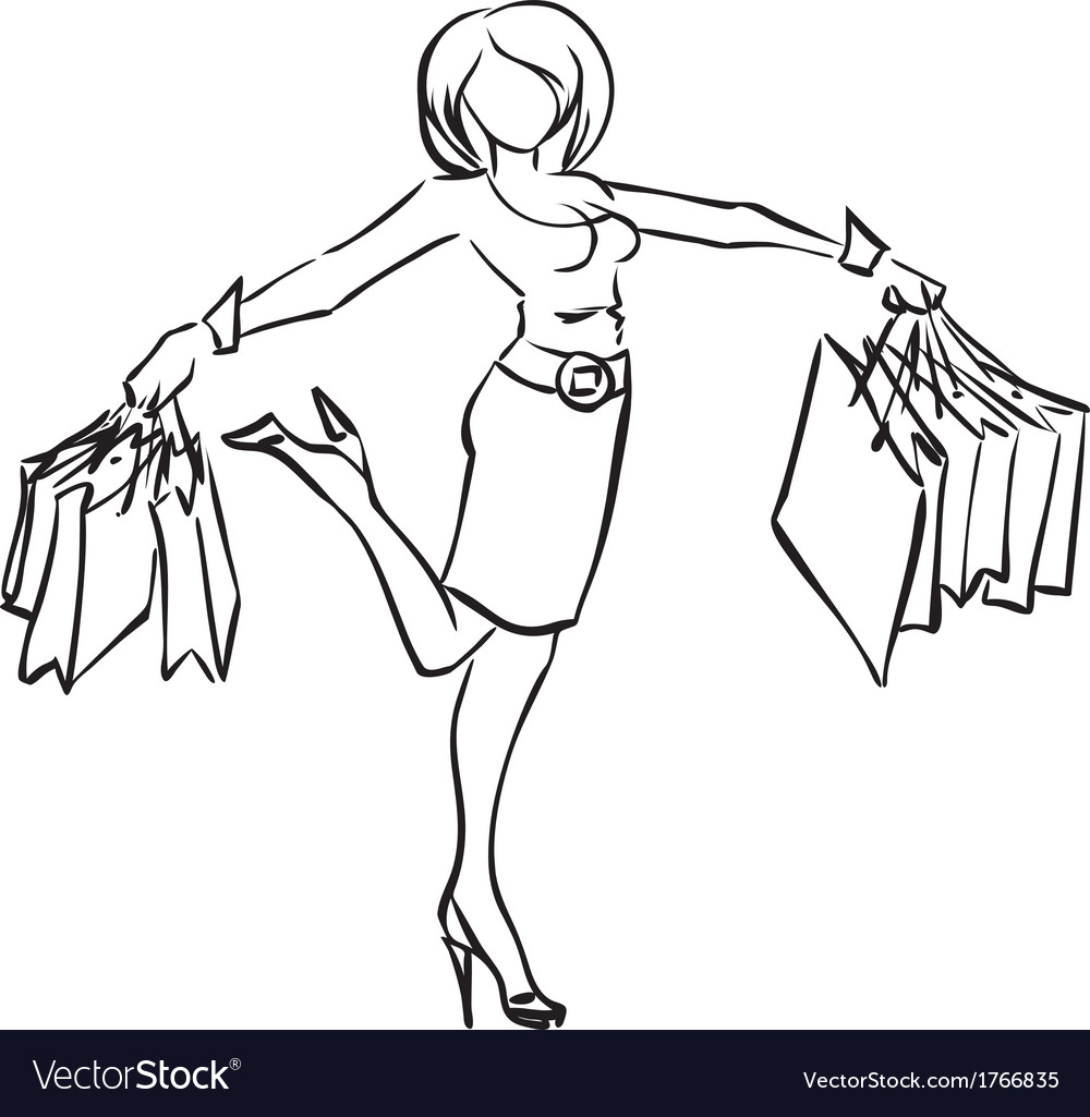 Series shopping joyful woman with purchases vector   Price: 1 Credit (USD $1)