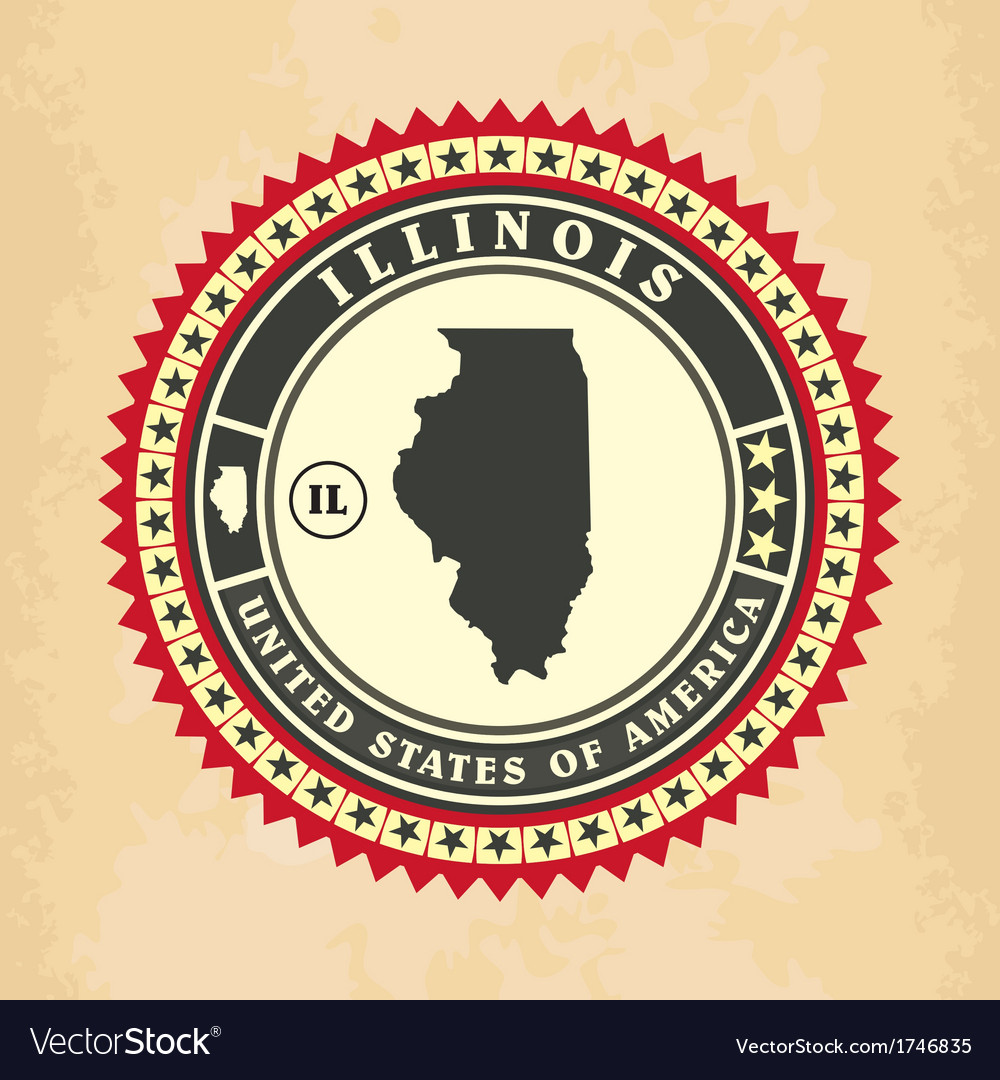 Vintage label-sticker cards of illinois vector | Price: 1 Credit (USD $1)