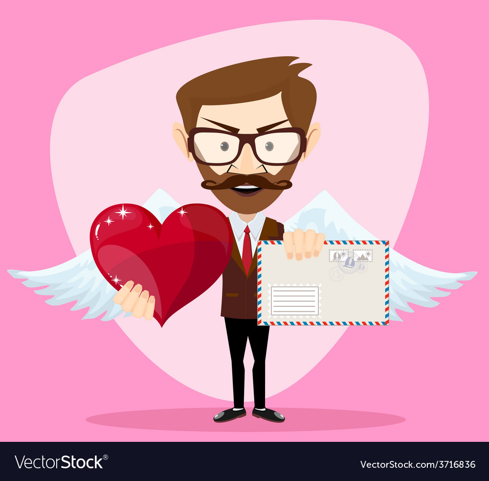 Angel man-hipster with wings a heart and letter vector | Price: 1 Credit (USD $1)