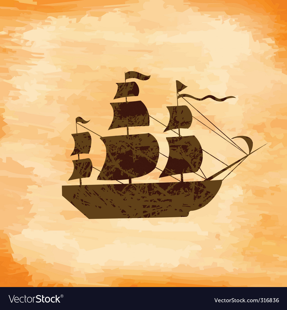 Boat on the background grunge vector | Price: 1 Credit (USD $1)