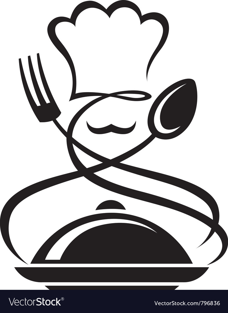 Chef hat with spoon and fork vector | Price: 1 Credit (USD $1)