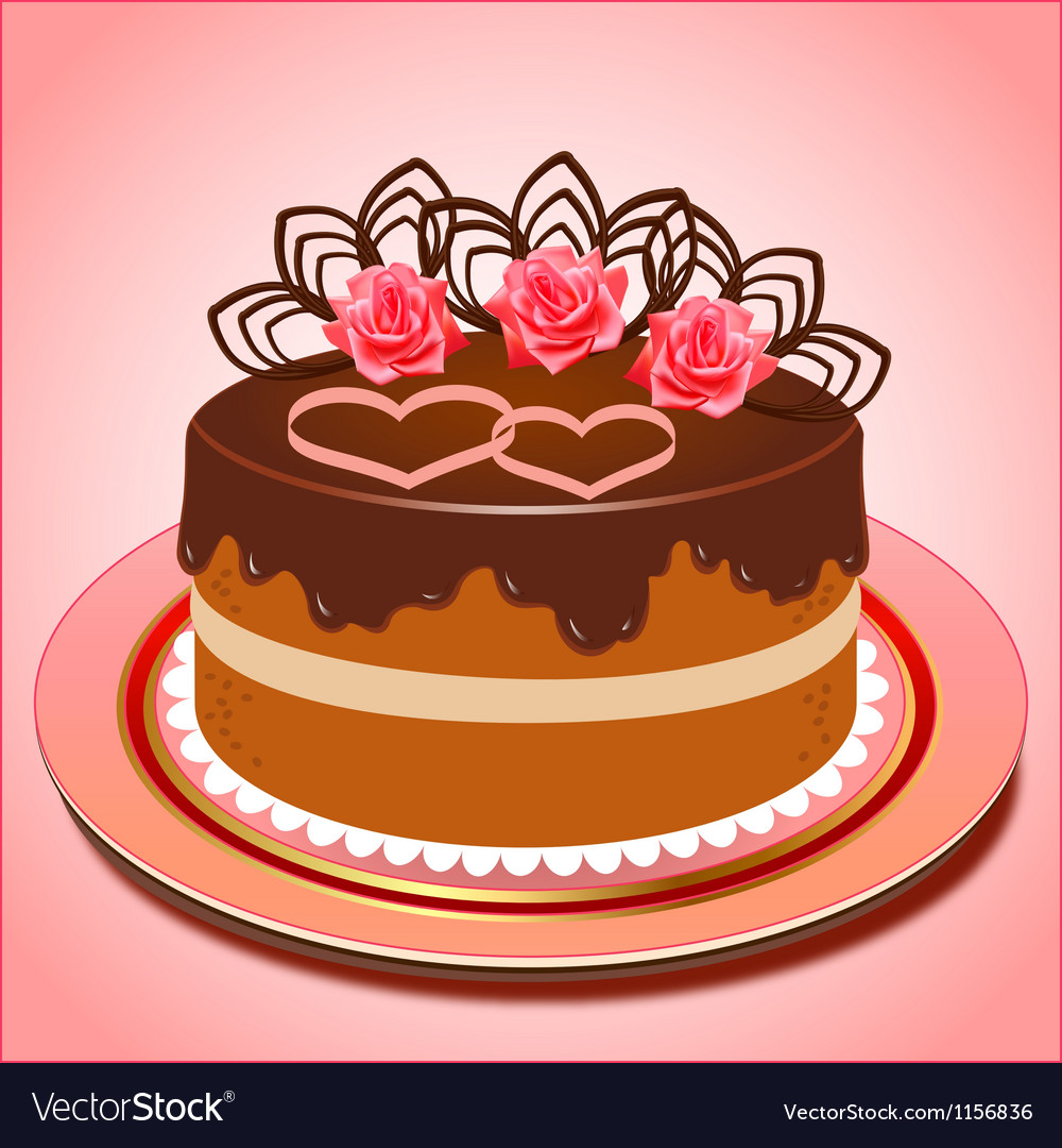 Chocolate cake with hearts and roses vector | Price: 1 Credit (USD $1)
