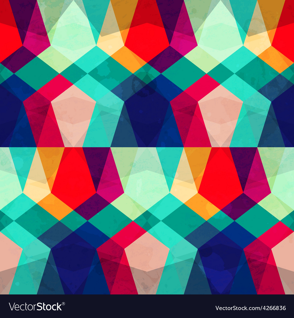 Colored mosaic seamless pattern with grunge effect vector | Price: 1 Credit (USD $1)