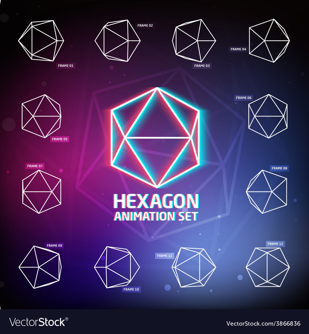 Hexagon animation set vector   Price: 1 Credit (USD $1)