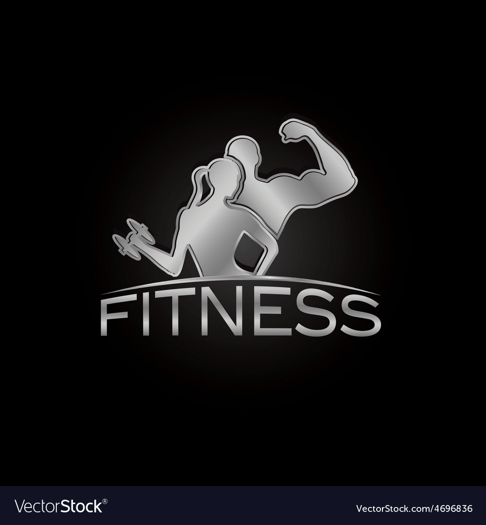 Man and woman of fitness silver silhouette vector | Price: 1 Credit (USD $1)