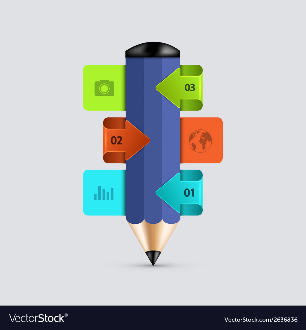 Modern pencil infographics vector | Price: 1 Credit (USD $1)