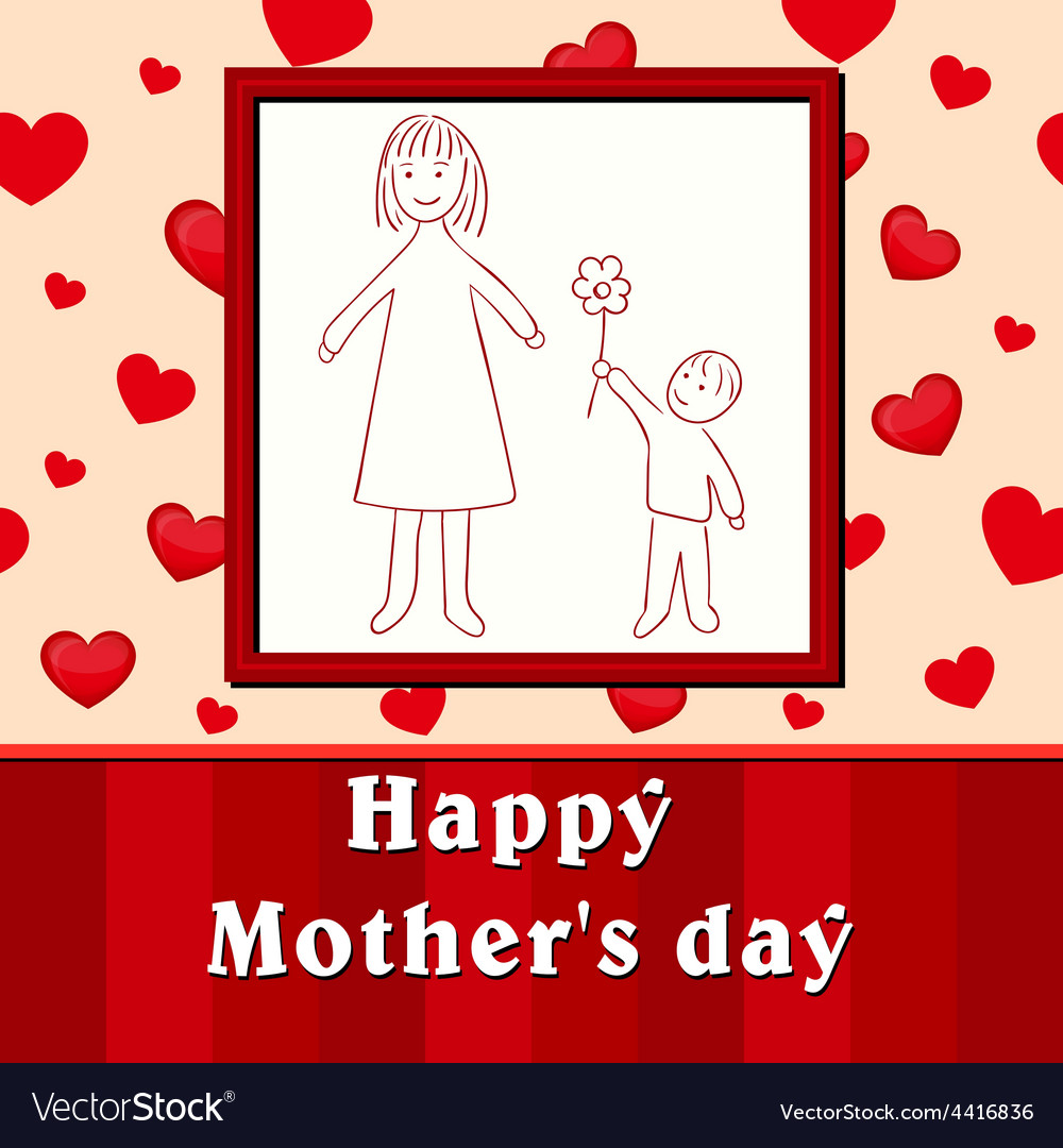 Mothers day childs drawing son gives mom a flower vector | Price: 1 Credit (USD $1)
