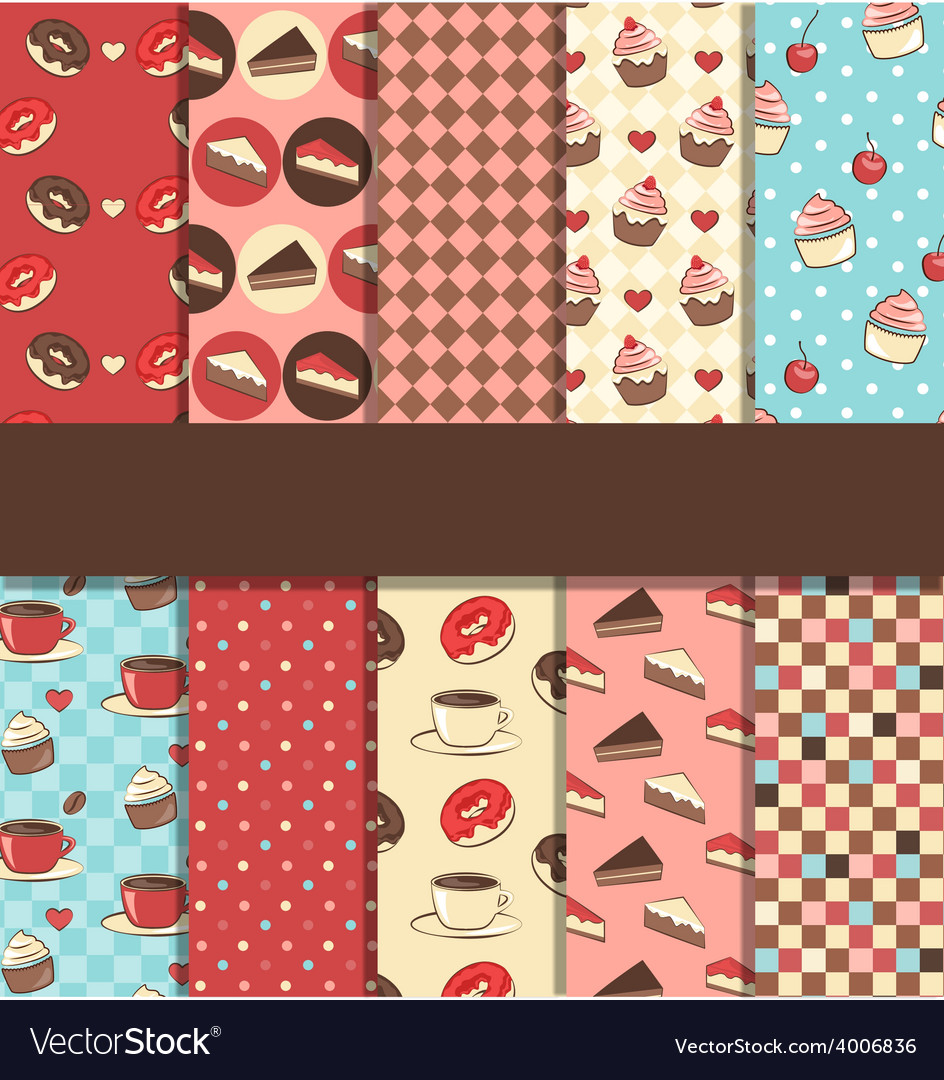 Set of 10 seamless sweet patterns vector | Price: 1 Credit (USD $1)