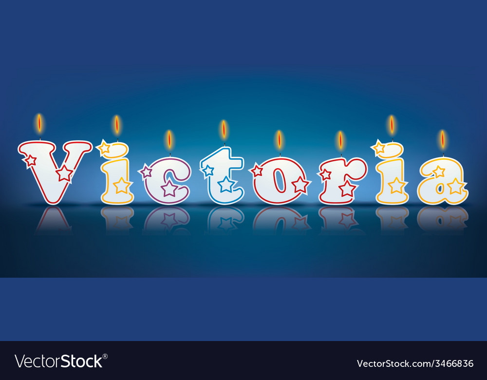 Victoria written with burning candles vector | Price: 1 Credit (USD $1)