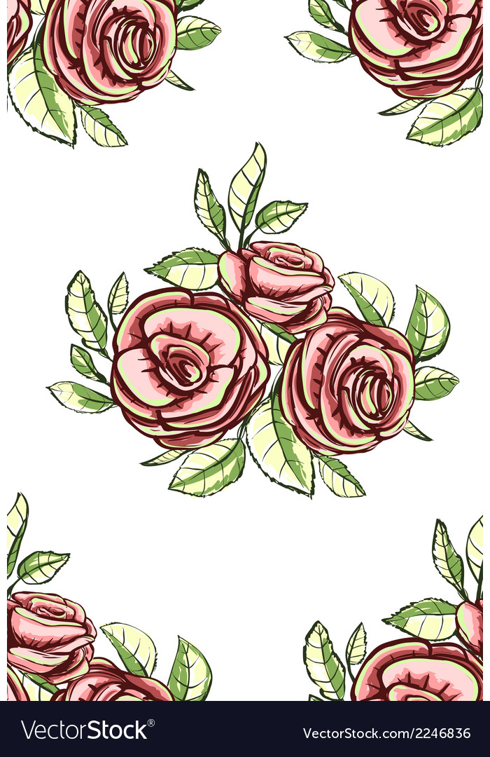 Vintage roses seamless pattern background vector | Price: 1 Credit (USD $1)
