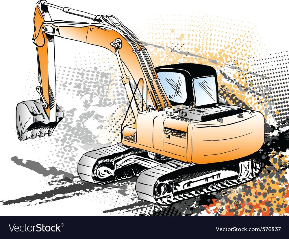 Big excavator on the background vector | Price: 1 Credit (USD $1)