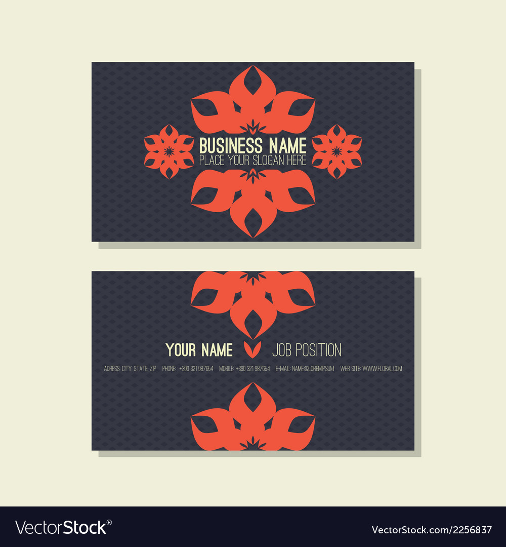 Business card template floral blue and red colors vector | Price: 1 Credit (USD $1)
