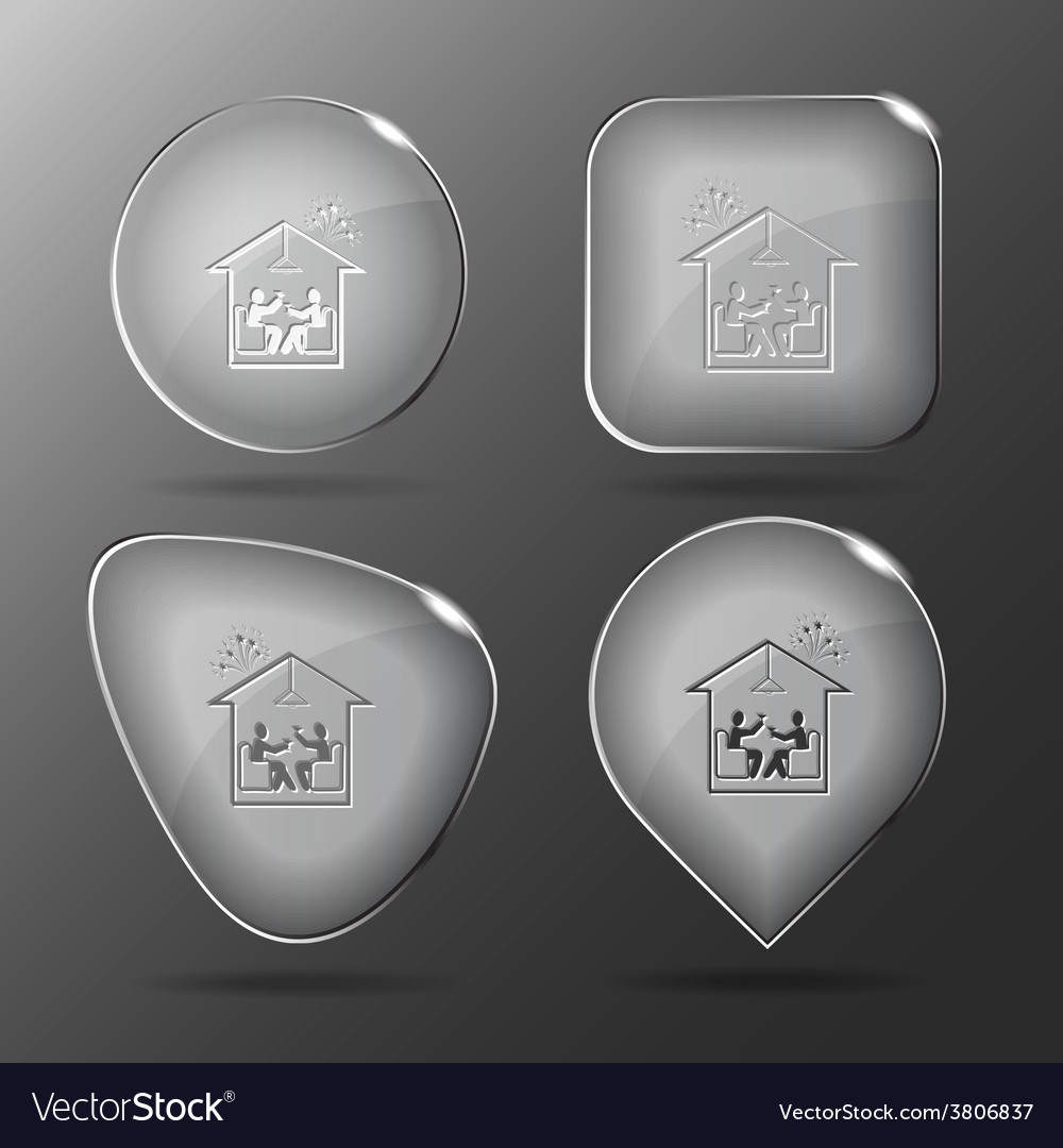 Home celebration glass buttons vector | Price: 1 Credit (USD $1)