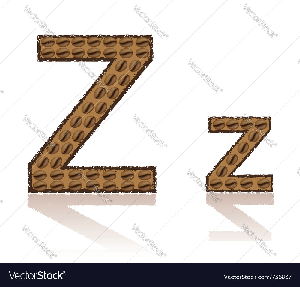 Letter z is made grains of coffee isolated on whit vector | Price: 1 Credit (USD $1)