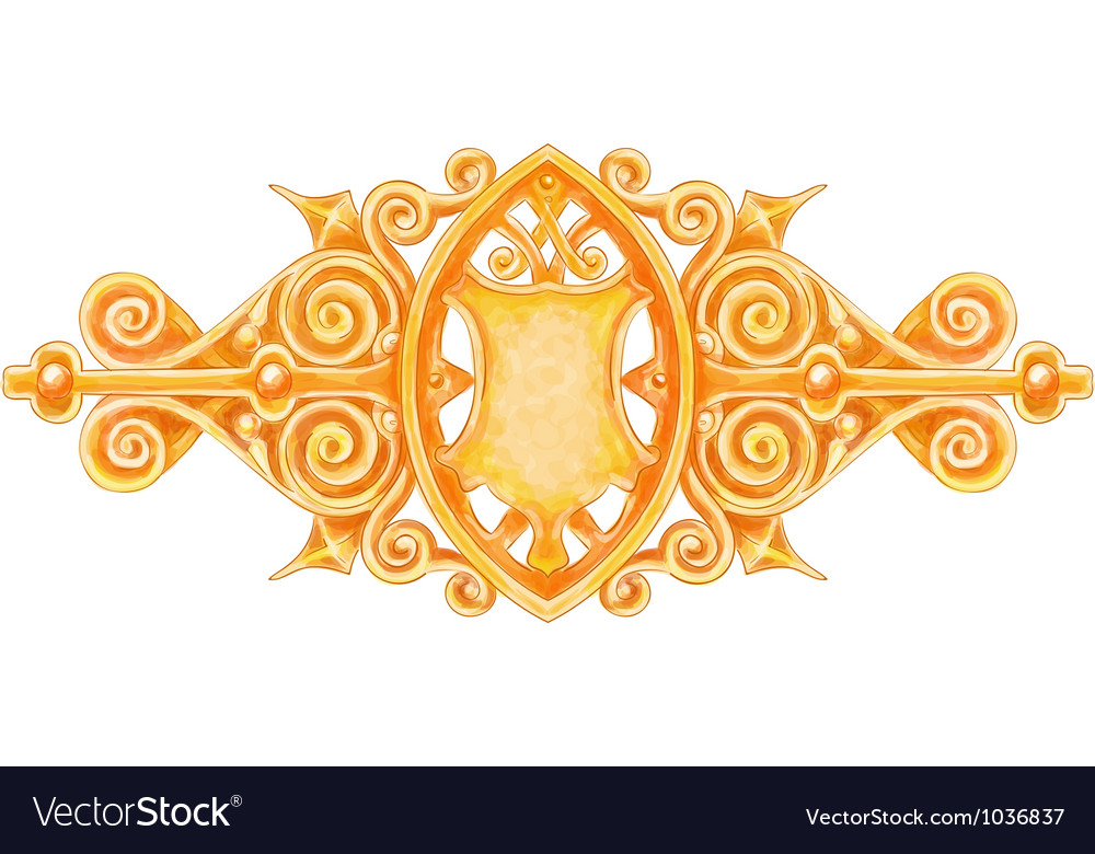 Ornated gold vintage decor with heraldic shield vector | Price: 1 Credit (USD $1)