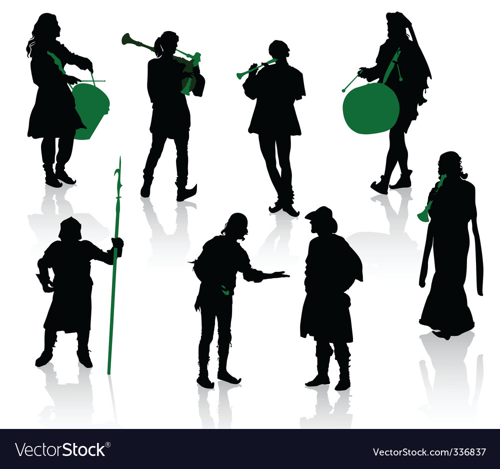 Silhouettes of people in medie vector | Price: 1 Credit (USD $1)