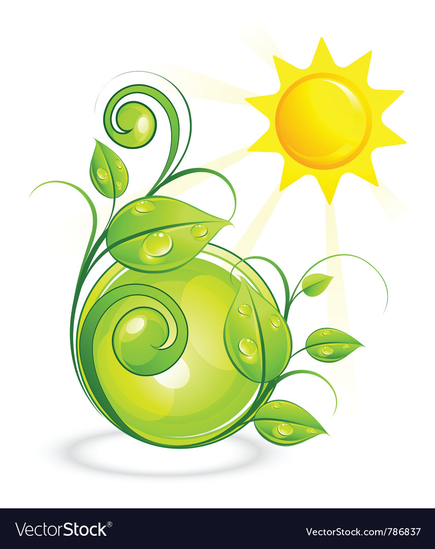 Sun and green vegetation vector | Price: 3 Credit (USD $3)