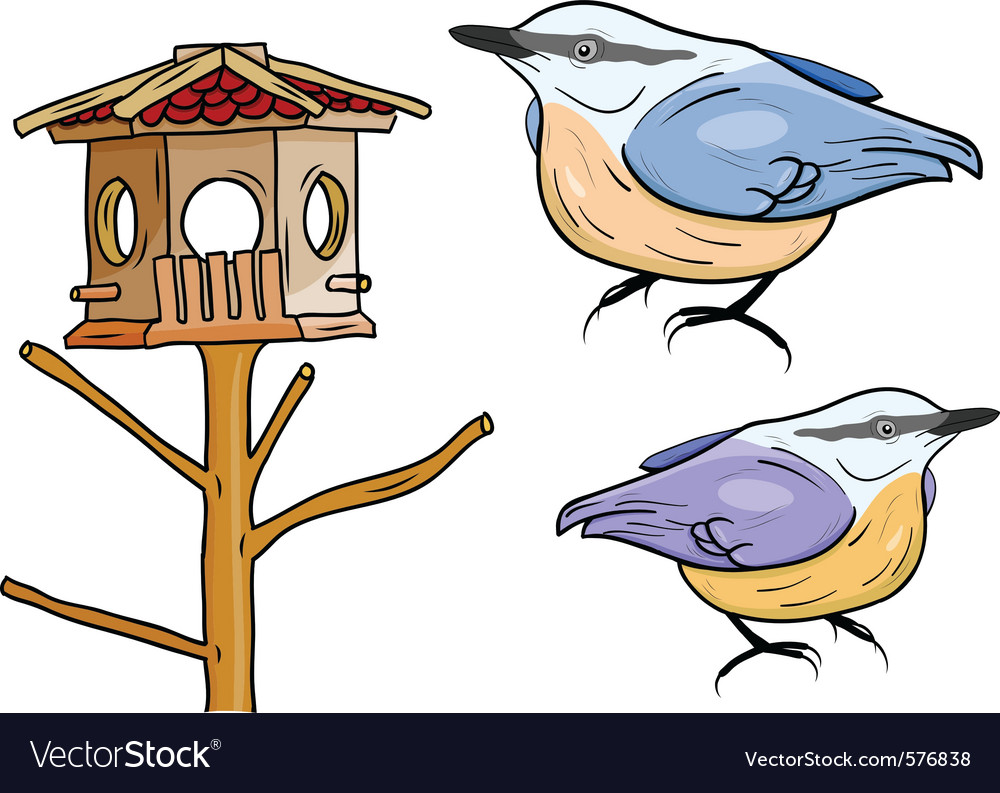 Cartoon birds with bird box vector | Price: 1 Credit (USD $1)