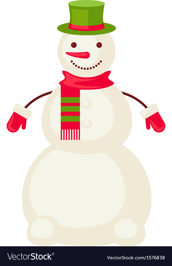 Cartoon snowman mittens isolated vector | Price: 1 Credit (USD $1)