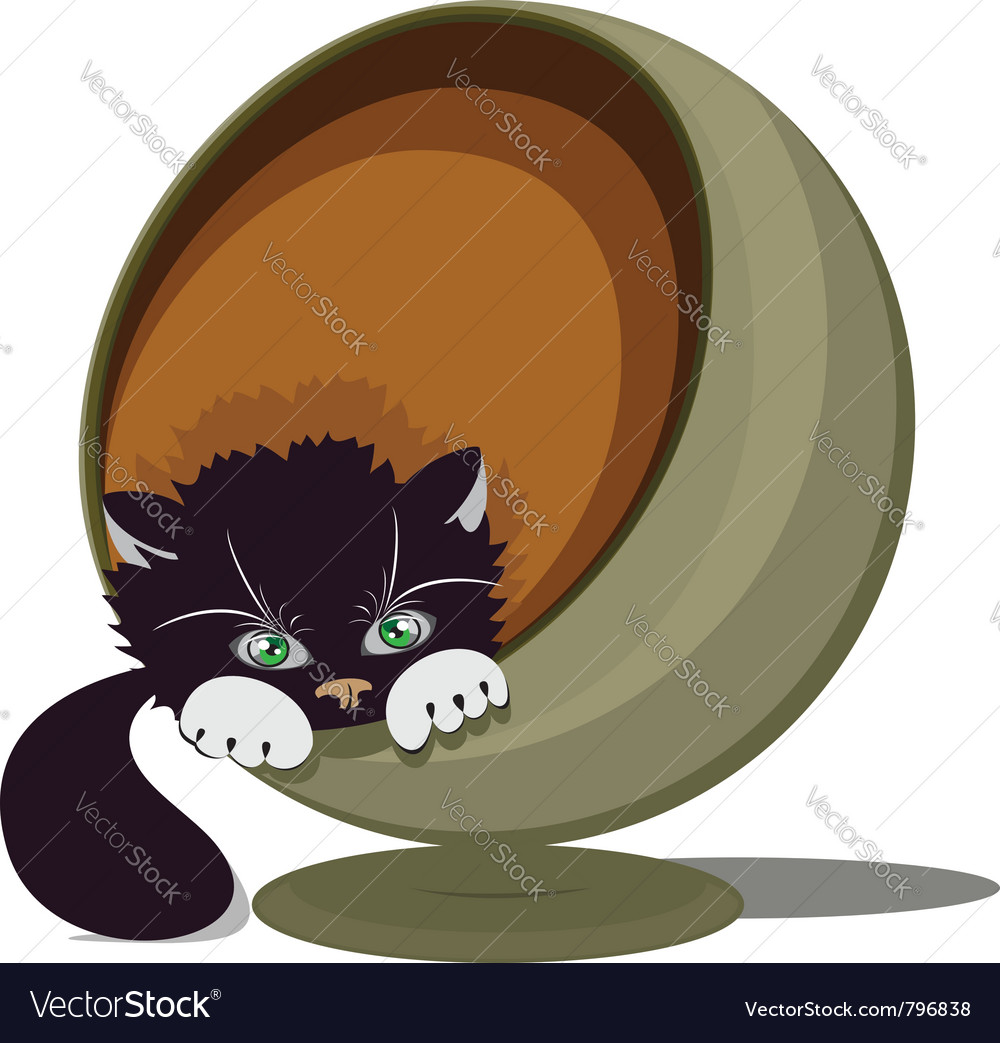 Cat in a round recliner vector | Price: 1 Credit (USD $1)