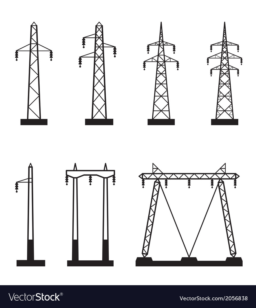 Electrical transmission tower types vector | Price: 1 Credit (USD $1)