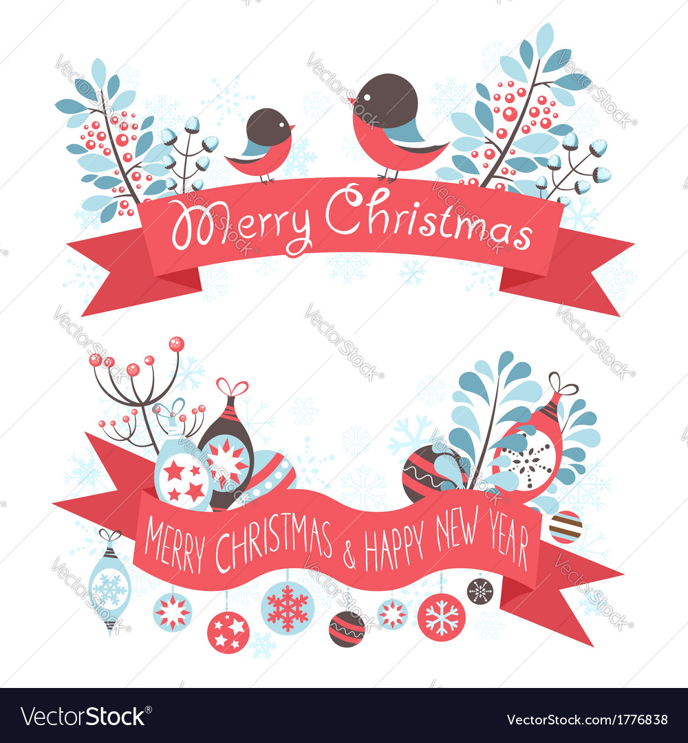 Elegant christmas greeting banners vector | Price: 1 Credit (USD $1)