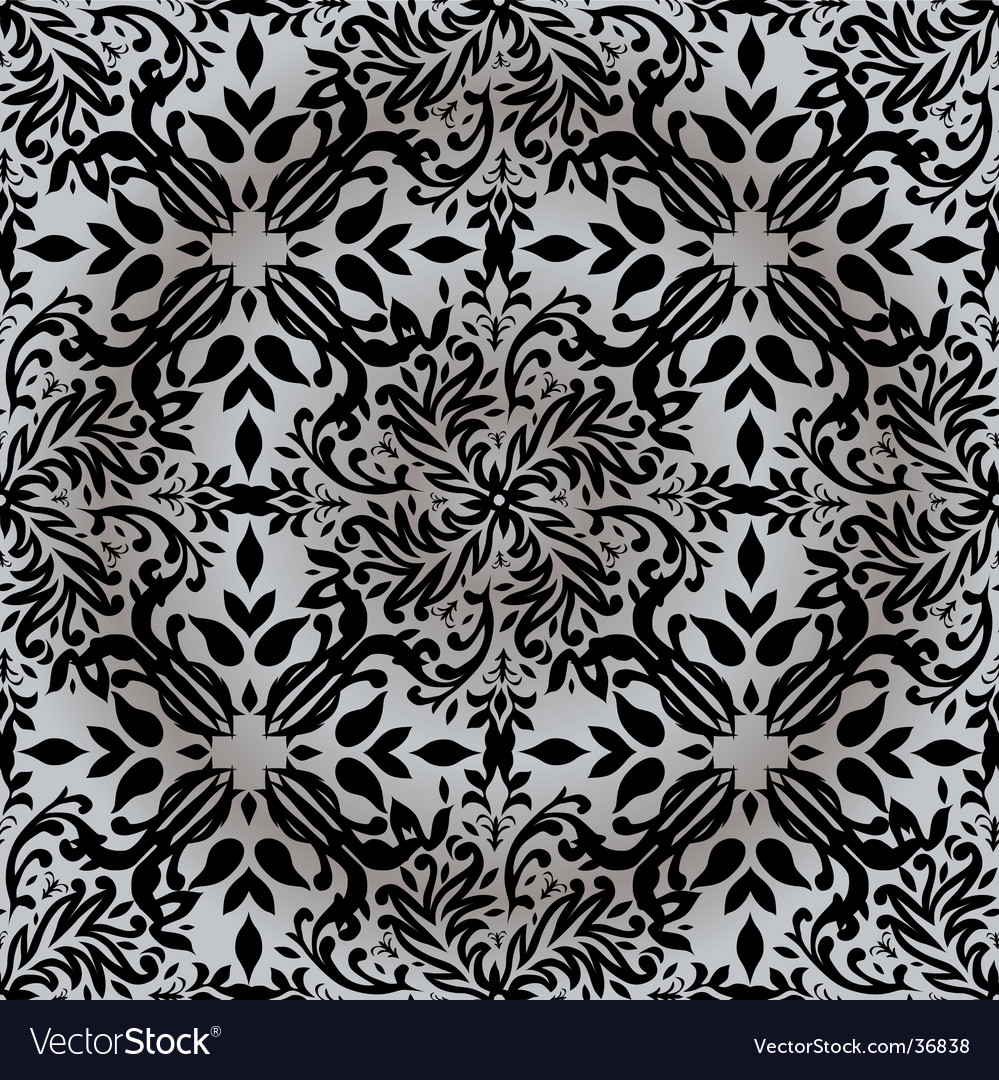Floral silver pattern vector | Price: 1 Credit (USD $1)