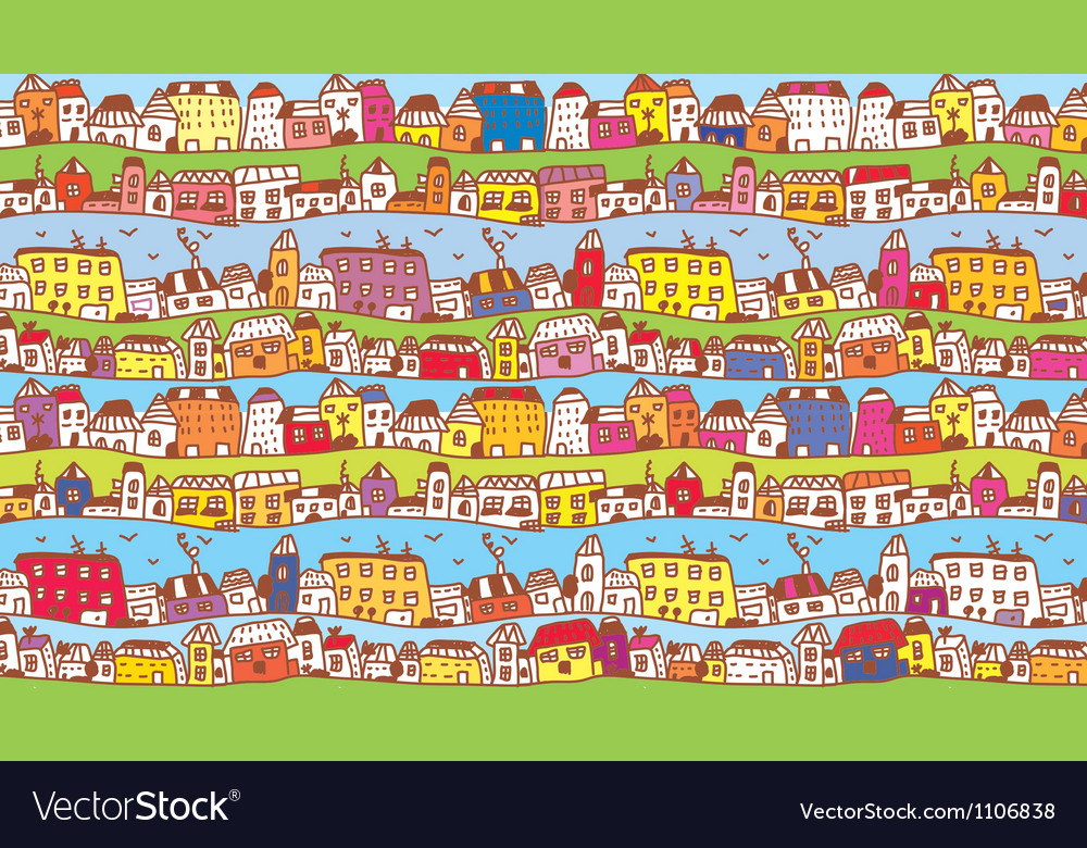 Houses in the town funny background vector | Price: 1 Credit (USD $1)