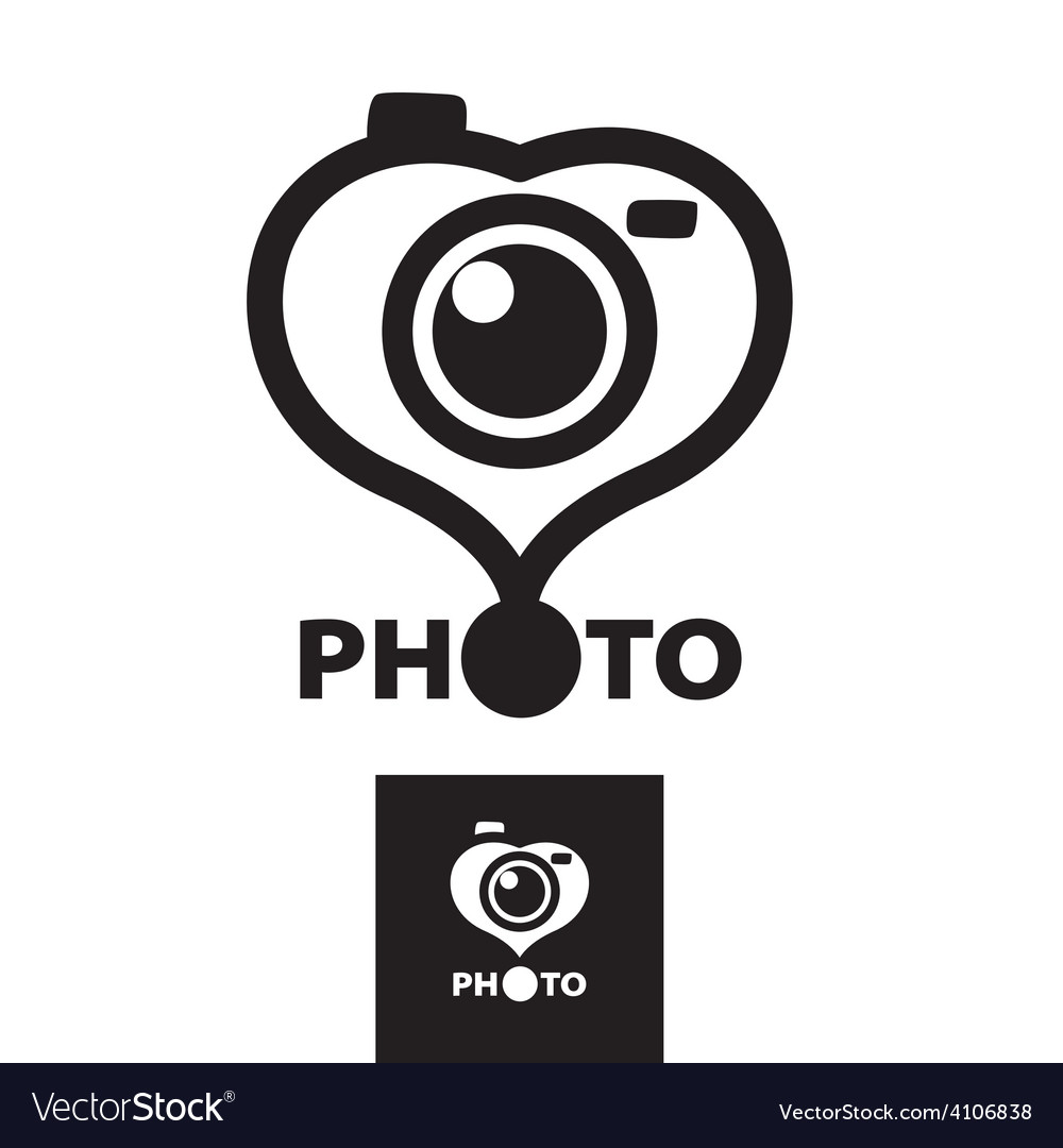 Logo in the form of heart for the photographer vector | Price: 1 Credit (USD $1)