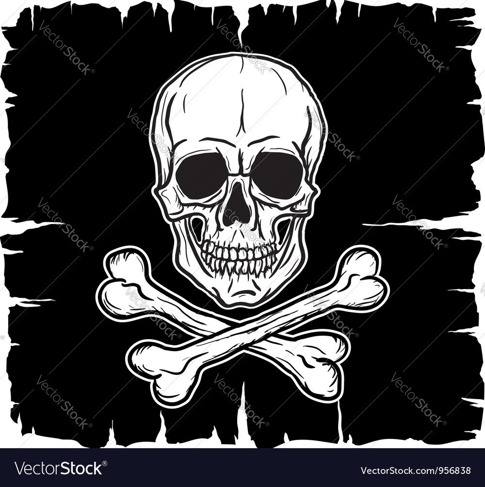 Skull and crossbones over black flag vector | Price: 1 Credit (USD $1)